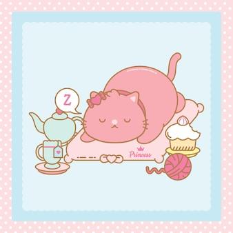 Dormindo gato kawaii rosa