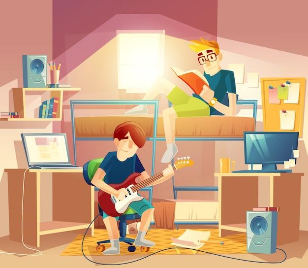 Dormitório com companheiros de quarto, beliche, computadores, mesa, alto-falantes, estantes