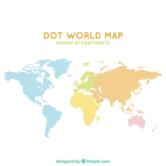 Dot mapa do mundo dividido por continentes