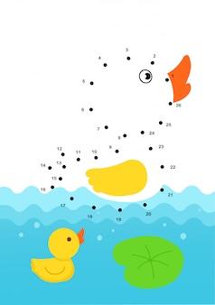 Dot to dot jogo educativo para crianças ilustração