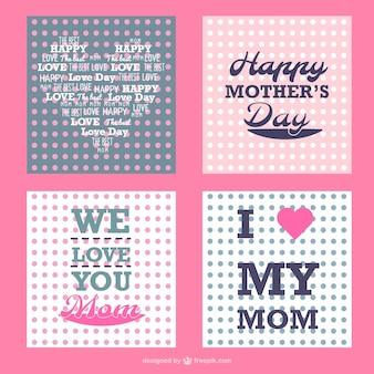 Dots dia bolinhas cartões da mãe definidas