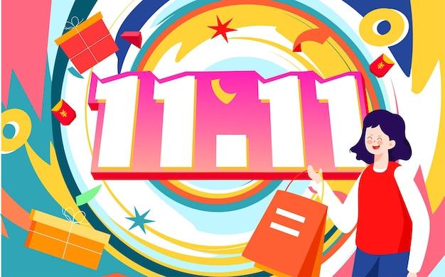 Double 11 shopping festival compras on-line ilustração de personagens compras no site de comércio eletrônico