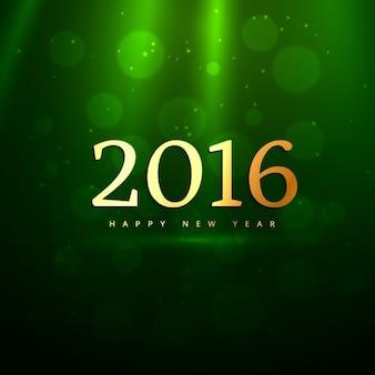Dourado 2016 do ano novo em fundo verde