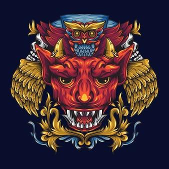 Dourado alado diabo e morte coruja ornamental
