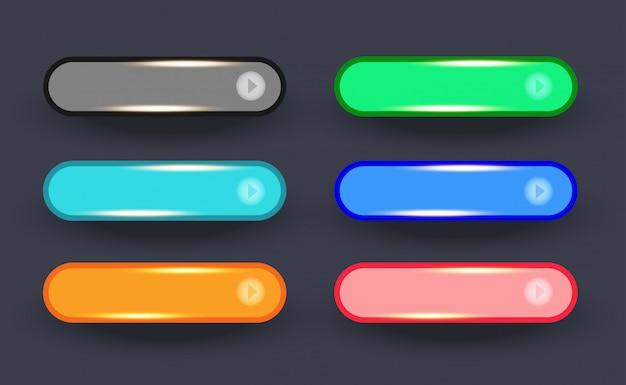 Dourado brilhante do conjunto de botões arredondados da web