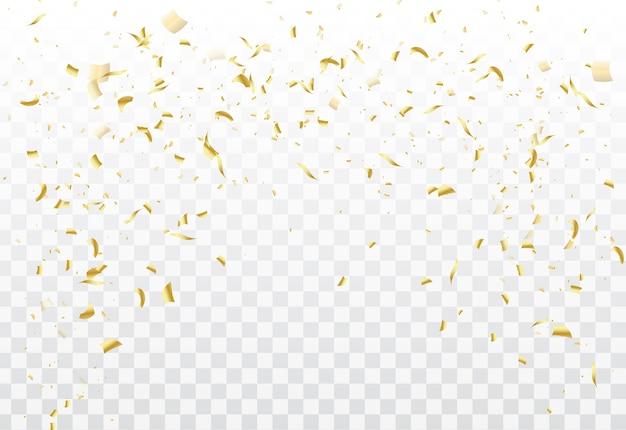 Dourado caindo confete isolado.