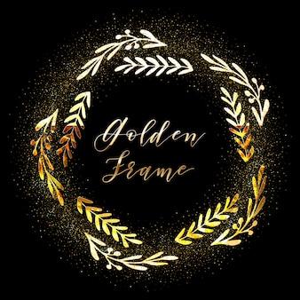 Dourado e branco brilhante moldura floral