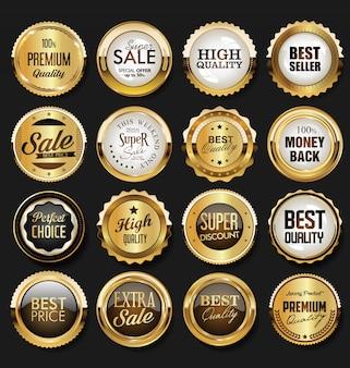 Dourado emblema e etiquetas coleção vintage retrô