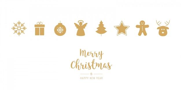 Dourado, enfeite natal, ícones, elementos, isolado, fundo