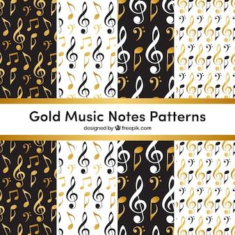 Dourado, música, notas, padrão, fundo