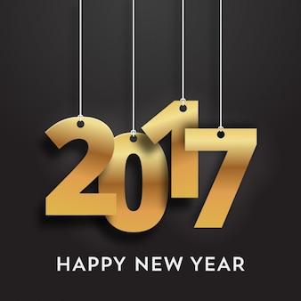 Dourado pendurado números do ano novo
