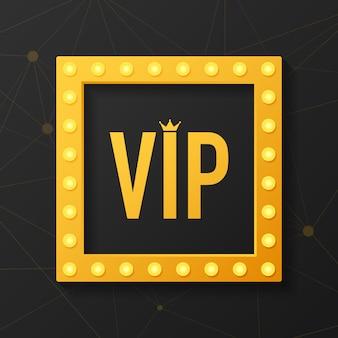 Dourado símbolo de exclusividade, o rótulo vip com glitter. pessoa muito importante - ícone vip no escuro sinal de exclusividade com brilho dourado, brilhante.