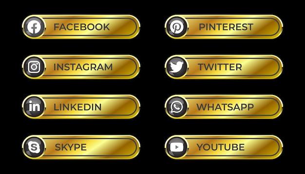 Dourado sólido brilhante 3d mídia social botão de gradiente definido com ícone redondo de facebook instagram linkedin pinterest skype twitter whatsapp youtube para ux ui e uso online
