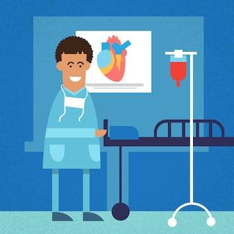 Doutor afro-americano em funcionamento cirúrgico quarto coração