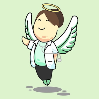 Doutor anjo fêmea coque cabelo verde
