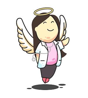 Doutor anjo menina cabelo comprido rosa ilustração vetorial