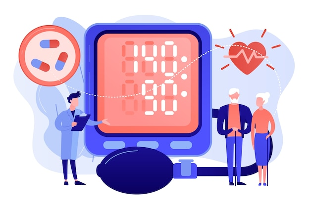 Doutor, casal de idosos com pressão alta do tonômetro, pessoas minúsculas. pressão alta, doença hipertensiva, conceito de controle da pressão arterial. ilustração de vetor isolado de coral rosa