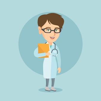 Doutor caucasiano com um estetoscópio e um arquivo.