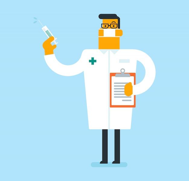 Doutor caucasiano que guarda uma seringa com vacina.