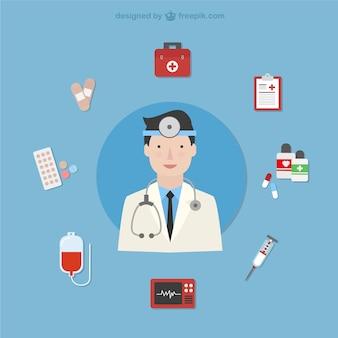 Doutor com ícones médicos