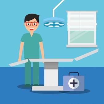 Doutor, com, mala médico, maca, em, consultório, sala