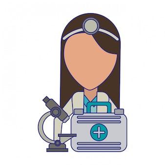 Doutor, com, microscópio