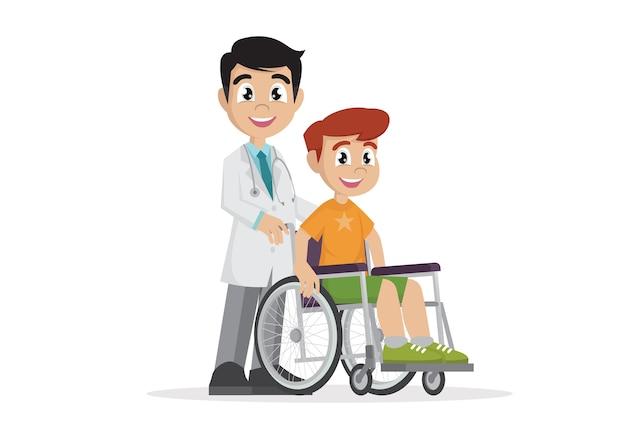 Doutor com paciente de cadeira de rodas.