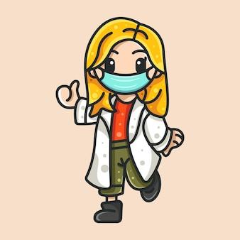 Doutor da beleza para ícone de personagem etiqueta do logotipo e ilustração