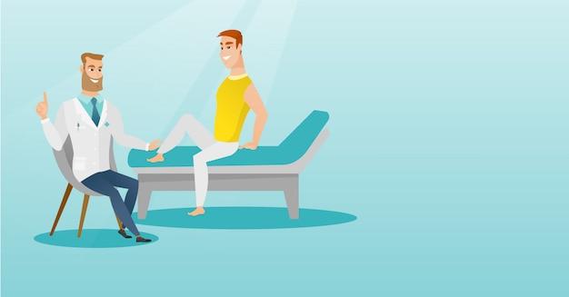 Doutor da ginástica que verific o tornozelo de um paciente.