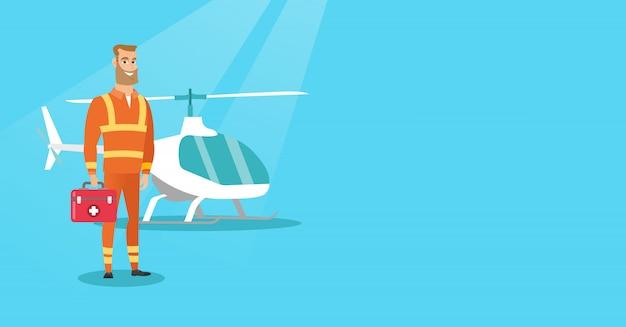 Doutor da ilustração do vetor da ambulância de ar.