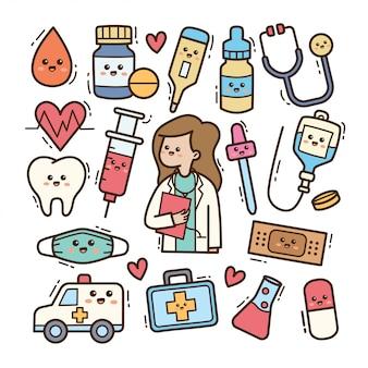 Doutor dos desenhos animados com equipamento médico kawaii doodle ilustração