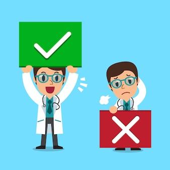 Doutor dos desenhos animados com sinais de certo e errados