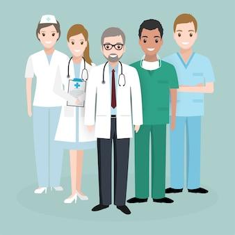 Doutor, e, enfermeira, equipe, medicina, conceito