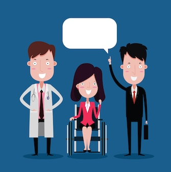 Doutor, e, executiva, ligado, a, cadeira rodas