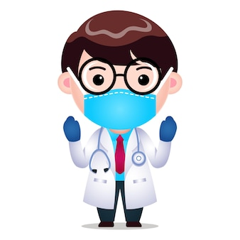 Doutor em desenho animado usa máscara médica cirúrgica preparando-se para o desempenho