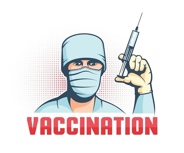 Doutor em máscara com seringa na mão - cartaz retrô de vacinação
