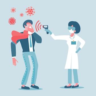 Doutor em máscara protetora mede a temperatura do homem de terno. meça a febre da pessoa infectada por vírus.