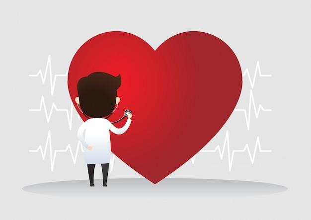 Doutor em pé com sinal de batimento cardíaco. conceito de saúde. ilustração vetorial