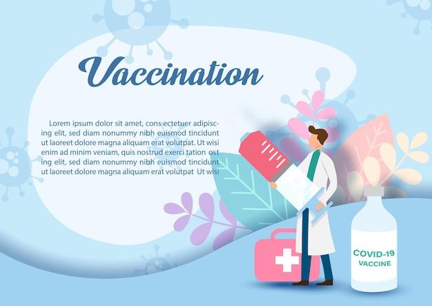Doutor em personagem de desenho animado, segurando uma seringa gigante com frasco de vacina e maleta médica em plantas de decoração e formulação de vacinação, textos de exemplo e fundo azul.