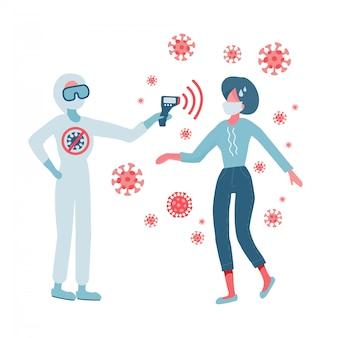 Doutor em traje de proteção, segurando um termômetro sem contato na mão. verificação de temperatura.