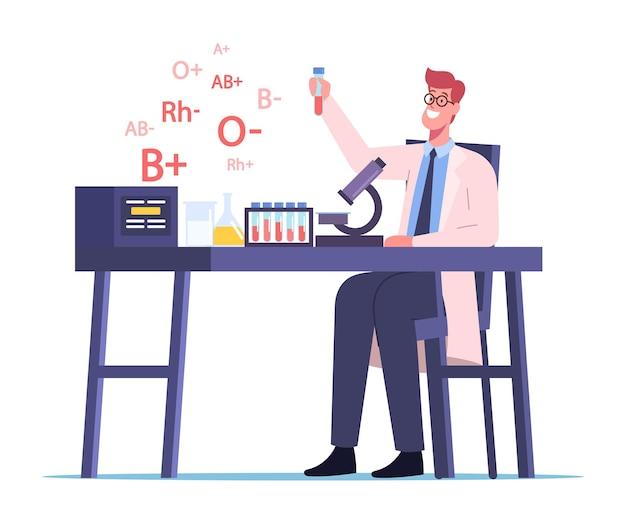 Doutor feliz personagem masculino trabalhando em laboratório médico examinando tipos de sangue para fins de transfusão