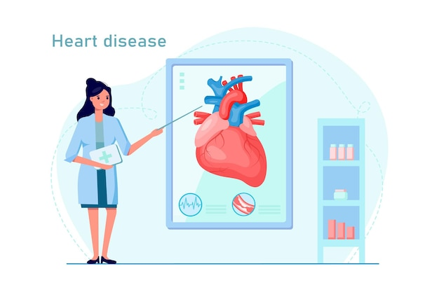 Doutor feminino explica doenças cardíacas com ponteiro e infográfico. conceito de diagnóstico de doenças e cuidados de saúde. ilustração vetorial. design para banner, plano de fundo da web, folheto