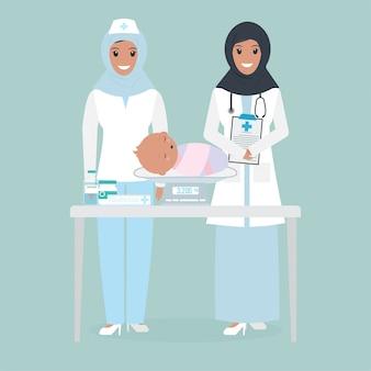 Doutor feminino muçulmano e escala de peso