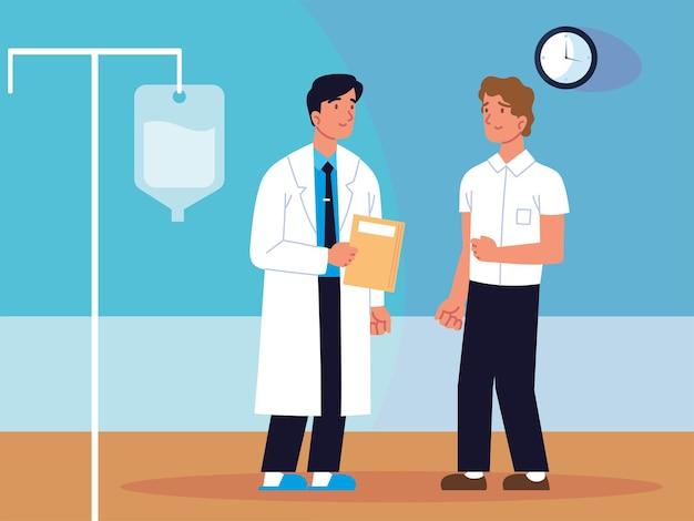 Doutor homem e paciente