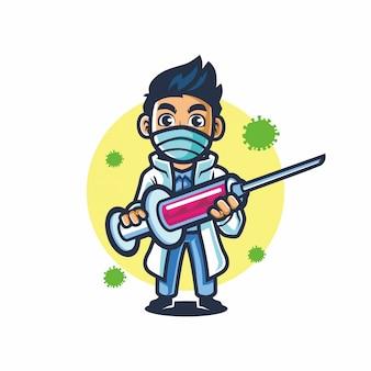 Doutor mascote projeto vetor segurar injeção luta covid 19
