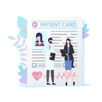 Doutor masculino, com, estetoscópio, femininas, paciente, cartão