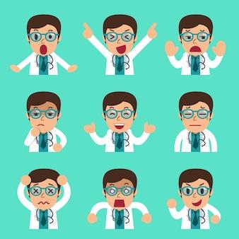 Doutor masculino dos desenhos animados enfrenta mostrando emoções diferentes