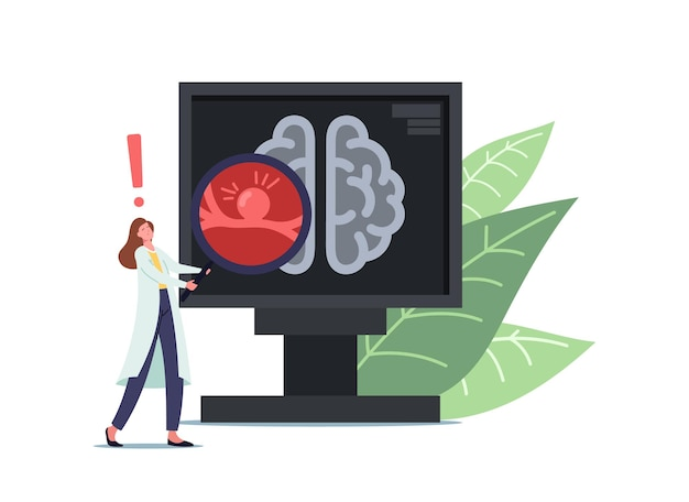 Doutor minúsculo personagem feminino em branco manto médico segurando enorme lupa na tela do pc com tomografia de cérebro humano com aneurisma de bulg na parede do navio, doença de perigo. ilustração em vetor de desenho animado