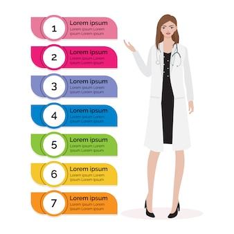 Doutor mulher, com, coloridos, infographic, cuidados de saúde, conceito
