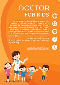 Doutor mulher e cartaz de lindos filhos